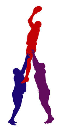 Best Color Sport Silhouette Isolation – Rugby Lineout Jumper Support Stock Vector - 20703984