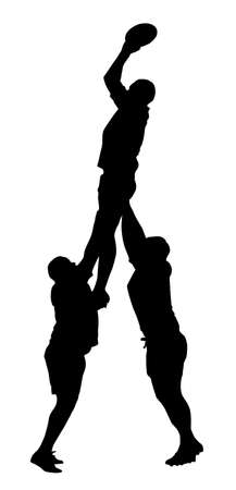Sport Silhouette - Rugby Lineout Jumper Support Stock Vector - 20703986