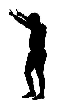 Sport Silhouette - Rugby Referee Indicating Penalty Kick at Goals  Vector