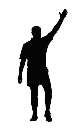 try: Sport Silhouette - Rugby Referee Awarding Penalty or Try