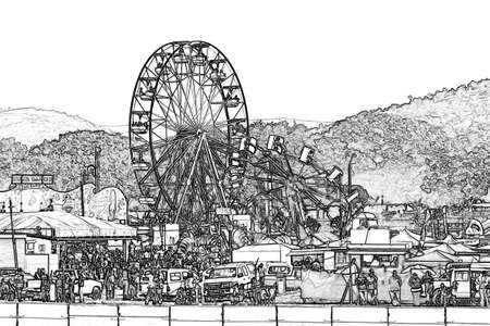 amusement park black and white: Amusement Park Illustration with Large Ferris Wheel  Stock Photo