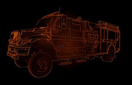 Red Neon Fire Truck Outline Drawing Image Stock Photo - 20957646