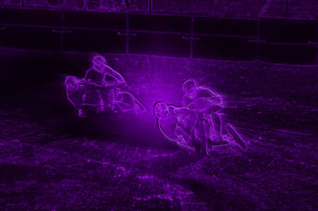 Abstract Violet Neon Image of Dirt Track Sidecar Motorcycle Racers photo