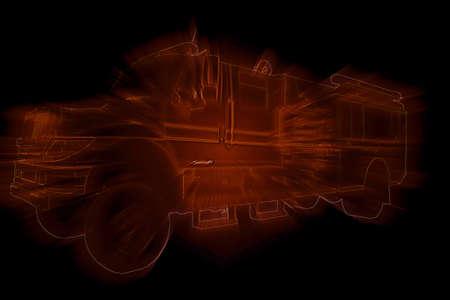 outline drawing: Fire Truck Neon Con Red Light Burst Outline Disegno Archivio Fotografico