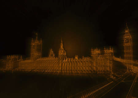 westminster abbey: Isolated Golden Westminster Abby London Line Drawing with Rays Stock Photo