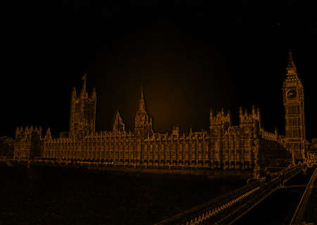 westminster: Isolated Golden Westminster Abby London Line Drawing