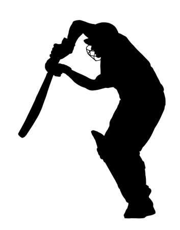 cricketer: Sport Silhouette - Cricket Batsman Play Defensive Shot Illustration