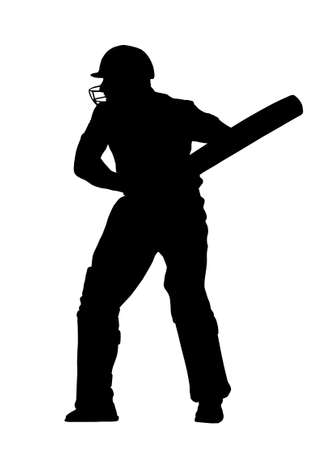 Sport Silhouette - Cricket Batsman Ready to Receive Vector