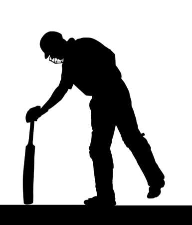 cricket sport: Sport Silhouette - Cricket Batsman Checking Pitch for Uneven Areas