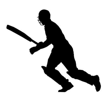 batsman: Sport Silhouette - Cricket Batsman Running Between Wickets Illustration
