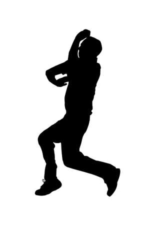 cricketer: Sport Silhouette - Cricket Spin BowlerJumping into Air Illustration