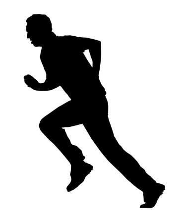 bouliste: Silhouette Sport - Cricket Bowler Occup� avec Run-Up Illustration