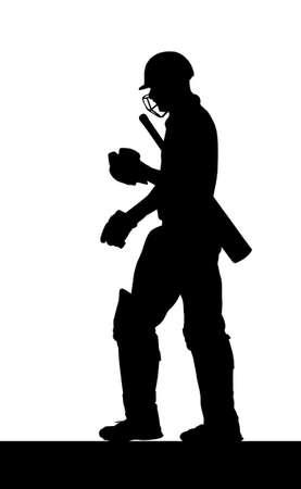 cricketer: Sport Silhouette - Dismissed Cricket Batsman Walking Back