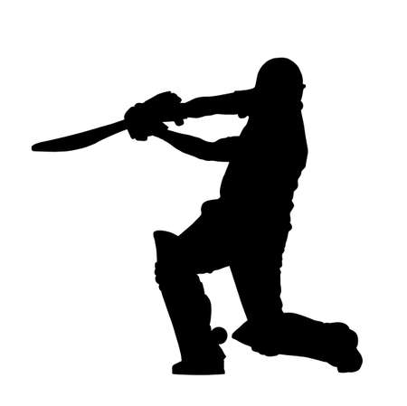 Sport Silhouette - Cricket Batsman Hitting Ground Stroke Hard Vector