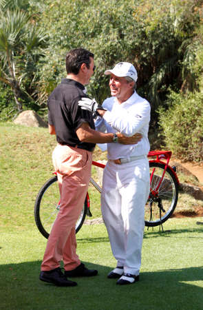 mc: PLAYER, GARY and BANNER, IAIN  - NOVEMBER 17: Professional Golfer Presenting and Playing at Gary Player Charity Invitational Golf Tournament  November  17, 2013, Sun City, South Africa. Gary with MC and friend Iain.