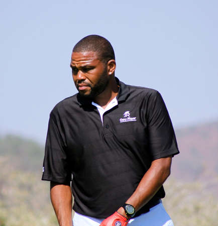 ANDERSON,  ANTHONY  - NOVEMBER 17: Actor Guest Player at Gary Player Charity Invitational Golf Tournament  November  17, 2013, Sun City, South Africa. Anthoney on practising green before tee-off.