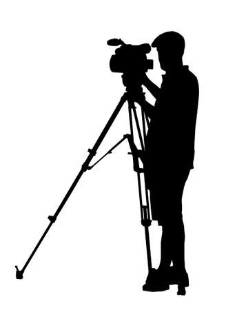 journalistic: Silhouette of Movie Cameraman with camera on tripod stand Illustration