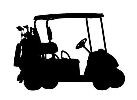 golf cart: Silhouette of Golf Cart with Bags on the Back Illustration