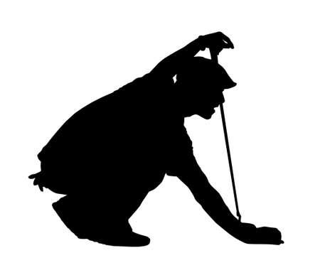 putting: Golf Sport Silhouette - Golfer kneeling judging putting angle Illustration