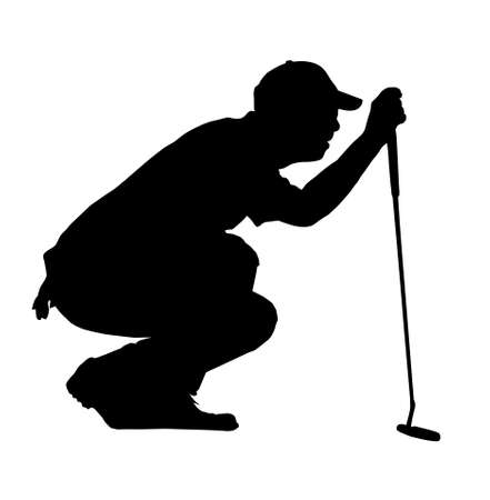 putting: Golf Sport Silhouette - Golfer kneeling judging putting angle Illustration