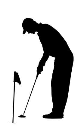 putting green: Golf Sport Silhouette - Golfer putting on practicing green