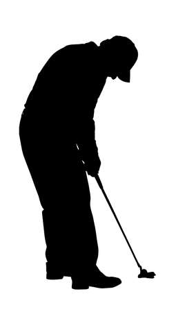 arched: Golf Sport Silhouette - Golfer busy putting with arched back