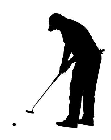 arched: Golf Sport Silhouette - Golfer busy putting with ball rolling