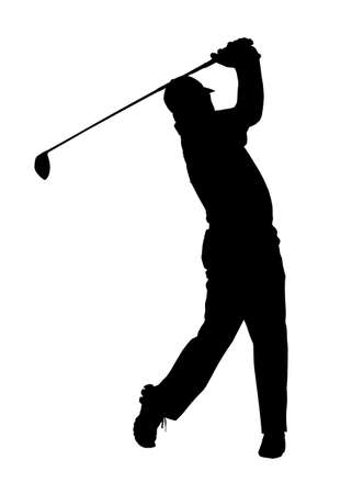 golfer: Golf Sport Silhouette – Golfer finished hitting Tee-shot