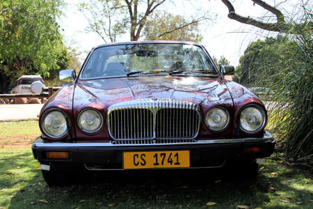 daimler: RUSTENBURG, SOUTH AFRICA - SEPTEMBER 9  A red Daimler Double Six Series III V12 Saloonfront view on display at the half century celebration of the Rusoord old aged home on September 17, 2013 in Rustenburg South Africa     Editorial