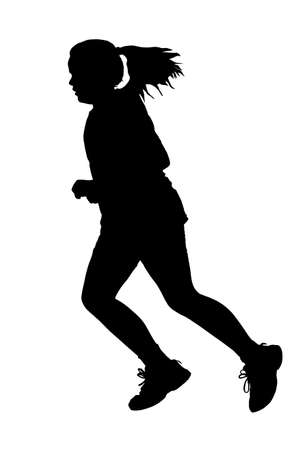 girl with ponytail hair swinging jogging or running silhouette royalty free cliparts vectors and stock illustration image 25234252