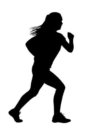 ponytail: Lady with Ponytail Hair Busy Jogging or Running Silhouette