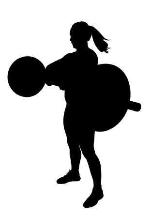 Lady Weight Lifter with Weights at Breast Height Silhouette Illustration