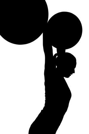 Lady Weight Lifter with Weights Pushed Out Above Head Silhouette