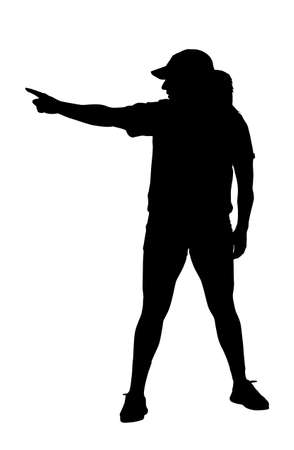 Lady Exerciser Setting Goal by Pointing to Goal Post Silhouette Vector