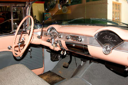 RUSTENBURG, SOUTH AFRICA – FEBRUARY 15:  Beige Pink 1955 Chevrolet Hard Top Coupe Inside View in Private Collection Philip Classic Cars on February 15, 2014 in Rustenburg South Africa.