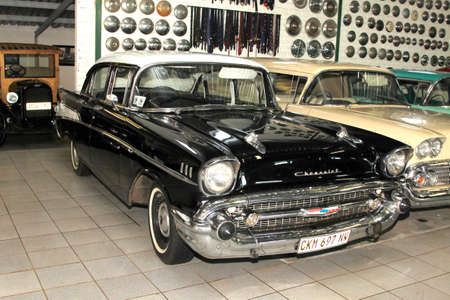 manufacturer: RUSTENBURG, SOUTH AFRICA – FEBRUARY 15:  Black 1957 Chevrolet Biscayne 4 Door Sedan Front View in Private Collection Philip Classic Cars on February 15, 2014 in Rustenburg South Africa.