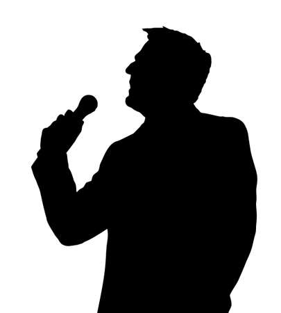 men silhouette: Single Male Opera Singer with Microphone Silhouette Illustration