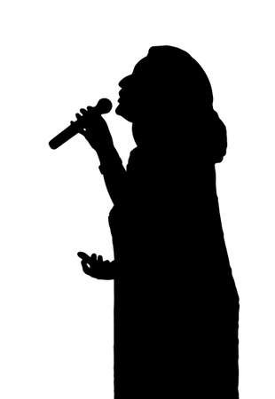 singing silhouette: Single Female Opera Singer with Microphone Silhouette