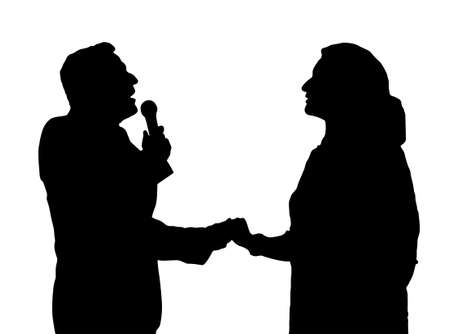 duet: Man and Woman Duet Opera Singers Love Song with Microphone Silhouette