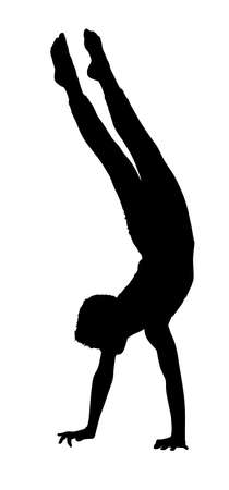 silhouetted: Acrobatic Gymnastics Boy Busy with Walking on Hands Routine