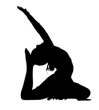 flexible girl: Acrobatic Gymnastics Girl Busy with Dance Routine Silhouette Illustration