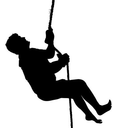 abseiling: Barefoot Male Mountain Climber with Harness