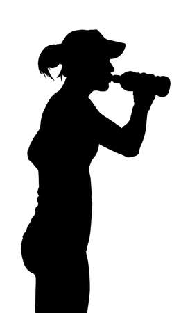 squirt: Thirsty Sports Woman Taking a Drink from a Bottle Silhouette