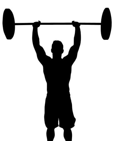 big breast: Man Weight Lifter with Weight Above Head Silhouette  Illustration
