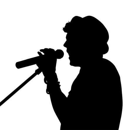 s�ngerin: Single-Mann, Pop-S�nger mit Mikrofon Silhouette Illustration
