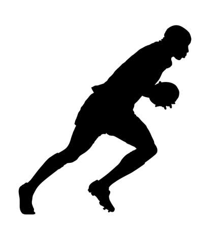 speedster: Side Profile of Rugby Speedster Running With Ball Silhouette