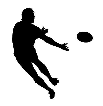 completo: Perfil lateral de la Rugby Speedster pasando la pelota Silueta Vectores