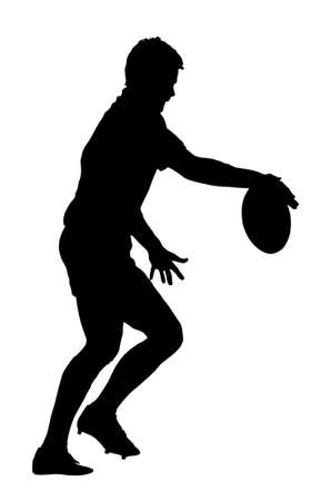 releasing: Side Profile of Rugby Player Releasing Ball to Kick Silhouette Illustration