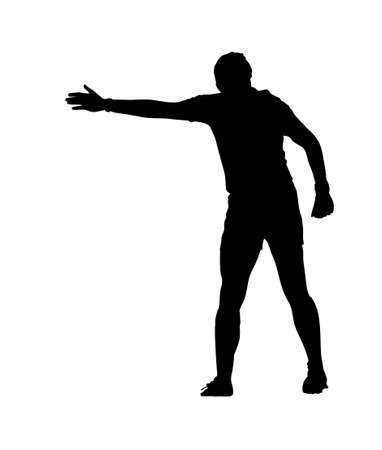 infringement: Side Profile of Rugby Football Referee Indicating Advantage Silhouette