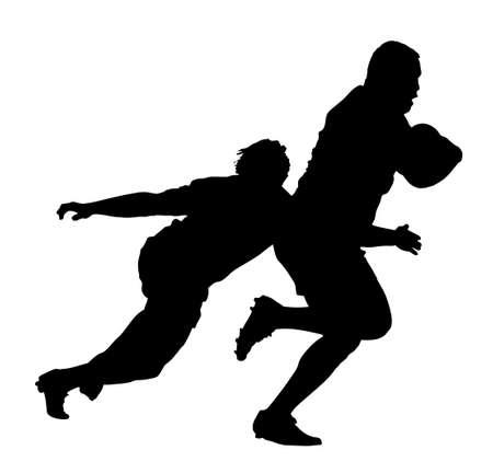 pelota rugby: Perfil lateral de Jugador de Rugby La lucha contra el corredor con la bola Silueta Vectores